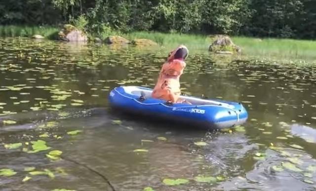 池のボートに飛び込むT-REX.jpg