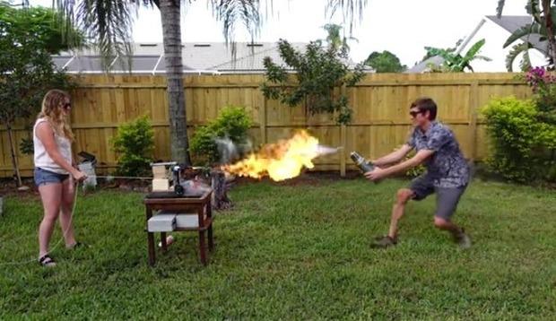 液体窒素と炎の対決