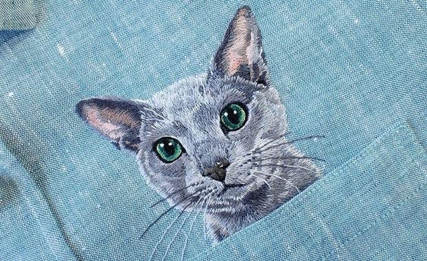 ネコの刺繍