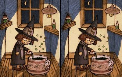ハロウィン魔女の召喚間違い探し