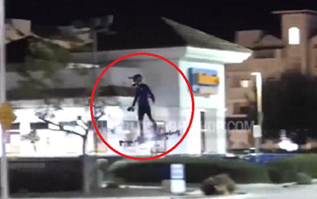 【動画】 ドローンの上に乗り町中を移動するゴブリンみたいな男w!!