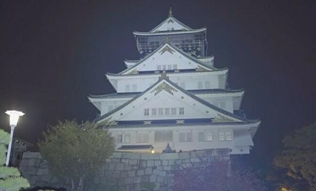最強懐中電灯で大阪城を照らす.jpg