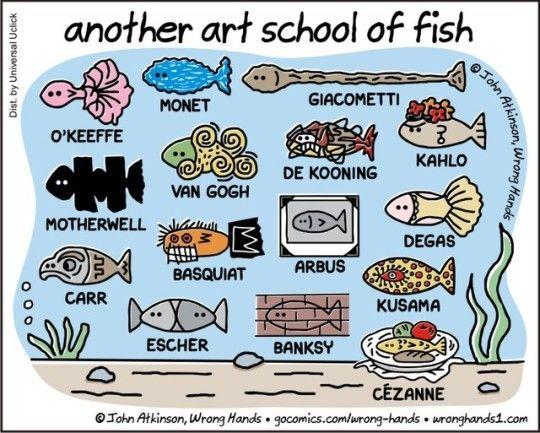有名画家のタッチの魚