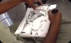 地下鉄で似顔絵を描く人