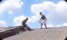屋根に上った泥棒