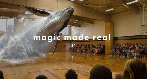 各超現実、体育館でクジラがジャンプ