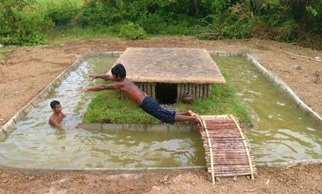 お堀のある小屋作り