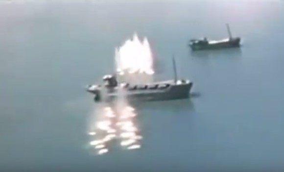 日本が攻撃されている第二次世界大戦の時の映像