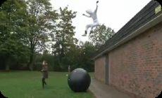 屋根から飛び降りるバカ