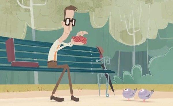 鳥に餌をねだられるショートアニメ