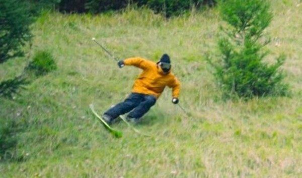 草スキーからのアウディ乗車