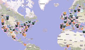 世界、ネコの分布図