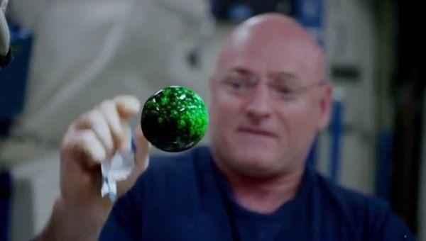 宇宙の無重力空間で水玉に色を付ける実験