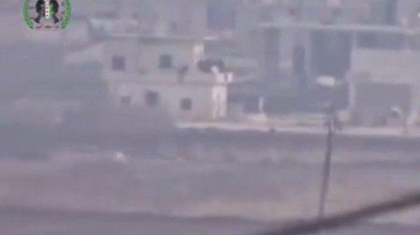 シリアのアレッポでのロケット攻撃