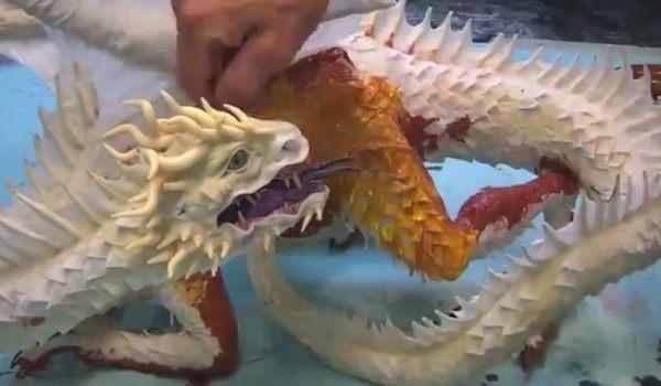 張り子のドラゴン制作タイムラプス