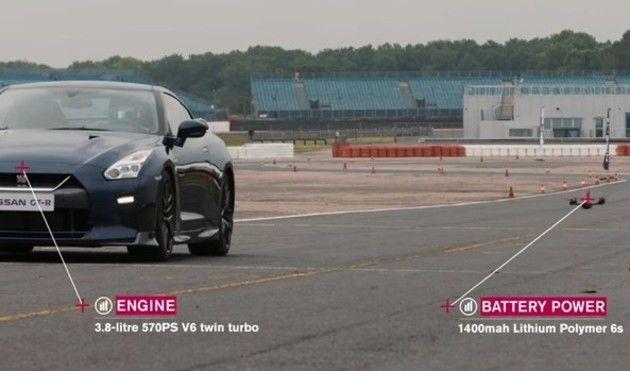 日産GT-Rとドローンの対決
